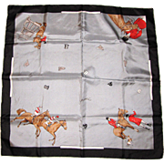 "Italian Silk Twill 26"" Square Equestrian Themed Scarf by Handcraft"