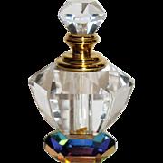 Lead Crystal Perfume Bottle w/ Prismatic Multi Colored Base