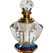 Lead Crystal Perfume Bottle w/ Prismatic Multi Colored Base