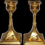 Pair of Art Nouveau Ornate Ormolu Bronze Candlesticks, Elegant Petite Form