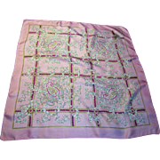 "21"" Square Pink Paisley Pattern Silk Scarf"