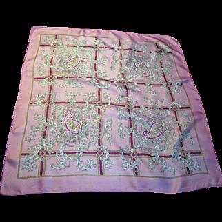 "21"" Square Pink Paisley Pattern Silk Scarf"