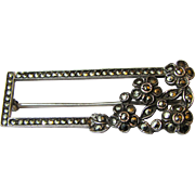 Art Deco Sterling & Marcasite Bar Pin, 7 grams