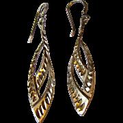 Sterling Silver Bright Cut Dangle Earrings, 6 grams