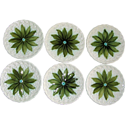 "Antique Schramberg Germany Majolica ""Lily of the Valley"" Plates, Set of 6"