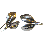 Judie Gumm Sterling Silver Hand Made Leaf Earrings