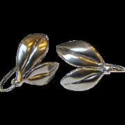 Judie Gumm Sterling Silver Hand Made Leaf Earrings