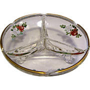 Art Deco Rose Design Hand Enameled 3 Section Footed Bowl