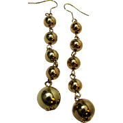 Elegant Long Shiny Golden Ball Dangle Earrings