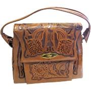 Vintage Mexican Hand Tooled Leather Purse, Rose Design!