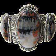 Vintage Navajo Three Stone Petrified Wood Silver Cuff Bracelet