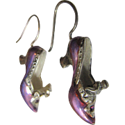 Sterling, Pink Enamel, & Crystal Shoe Dangle Earrings, 14 grams