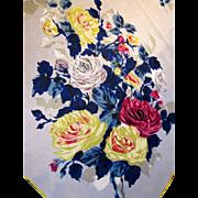 """1950's Retro Rose Pure Silk 30"""" Square Scarf, Elegant!"""