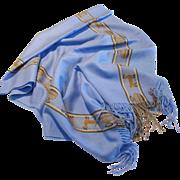 Blue & Brown Llama Design Fringed Shawl