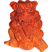 Vintage Orange Chinese Foo Dog Paperweight Figurine