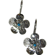 60's Inspired Sterling & Turquoise Flower Earrings, 5 grams