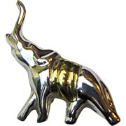Sterling & Vermeil Mexican Lucky Elephant Pin, 22 grams