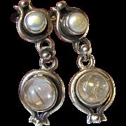 Sterling,  Rutilated Quartz & Freshwater Pearl Earrings, 8 grams