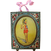 "2 3/4"" Micro Mosaic Frame w/ Picture of Bathing Girl"