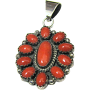 Native American Sterling & Coral Pendant Necklace, 8 grams
