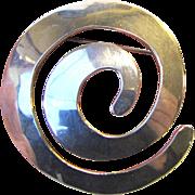 Striking Mexican Sterling Modernist Swirl Pin, 23 grams