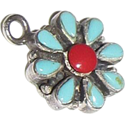 Sterling, Turquoise & Red Coral Flower Pendant Charm, 3 grams