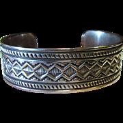 62 Gram Geneva Ramone Sterling Navajo Stamp Work Wide Cuff Bracelet