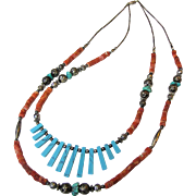 Coral, Turquoise & Sterling 2 Strand Southwestern Style Fringe Necklace