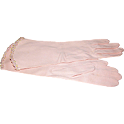 1960's Jackie O Style Pink Sequined Day Gloves, Mint & Unused!