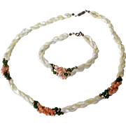 Coral, Mother of Pearl & Jade Bead Necklace & Bracelet
