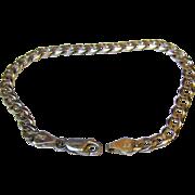 "Italian 7 1/4"" Sterling Flat Link Chain Bracelet, 8 grams"