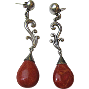 "Art Nouveau Style Sterling & Sponge Coral 2 5/8"" Dangle Earrings"