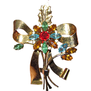 Coro-Craft Sterling Vermeil Rhinestone Flower Pin