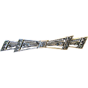 1920's Art Deco Sterling & Brilliants Filigree Bar Pin