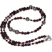 "26"" Sterling, Garnet & Crystal Bead Necklace"