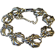 "Art Deco Lang Sterling Repousse Bracelet, 6 1/2"",  20 grams"