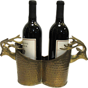 Hammered Brass Stag Head Double Wine Bottle Holder