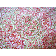 "60"" Remnant of 13 Color Screen Printed Paisley by Robert Allen"