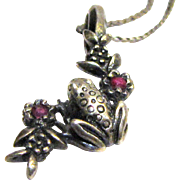 "Sterling Tree Frog Pendant on 16"" Filigree Chain, 4 grams"