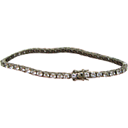 "7 1/4"" Faux Diamond & Sterling Tennis Bracelet, 12 grams"