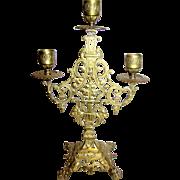 Victorian Revival Cast Brass Candelabra