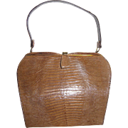 Elegant Mid Century Tan Alligator Framed Purse