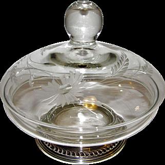 Sterling & Crystal Vanity Powder or Trinket Bowl, Etched, Hand Blown, Mint