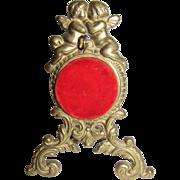 Victorian Style Brass Watch Stand, Kissing Cherubs