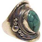 Turquoise & Sterling Silver Saddle Ring, Size 7 1/4, 12 grams