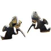 Artisan Sterling Crane Design Pierced Earrings, 3 grams
