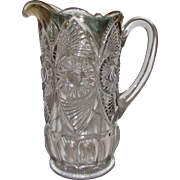 Antique EAPG Pitcher, McKee-Jeannette Unknown Pattern Circa 1900's, Mint
