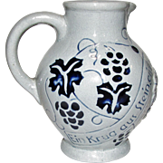 A stoneware 1/4 liter Wine Pitcher Light w/Gray Cobalt Blue, Made in Germany, Mint