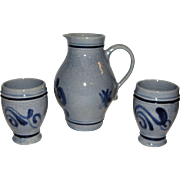 1.2 Liter Stoneware Wine Pitcher & 2 Cups, Gray & Blue Salt Glaze