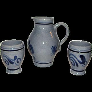 1.2 Liter Stoneware Wine Pitcher & 2 Cups, Gray & Blue Salt Glaze